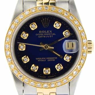 Mid Size Rolex Two-Tone Datejust Blue Vignette Diamond 68273 (SKU N300649NMT)
