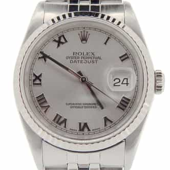 Mens Rolex Stainless Steel Datejust Silver Roman 16234 (SKU L884885NMT)
