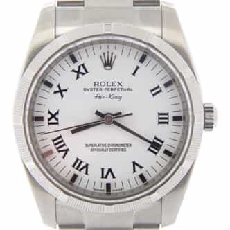 Mens Rolex Stainless Steel Air-King White Roman 114210 (SKU M277494NMT)