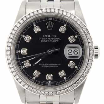 Mens Rolex Stainless Steel Datejust Black Diamond (SKU U381276NMT)