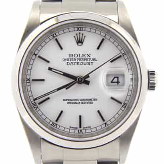Mens Rolex Stainless Steel Datejust White 16200 (SKU T485331MT)