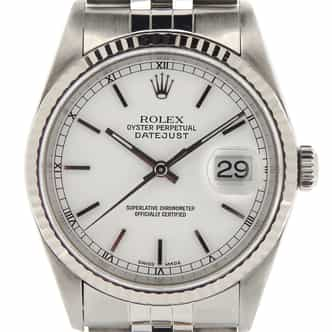 Mens Rolex Stainless Steel Datejust White  16234 (SKU U382324MT)