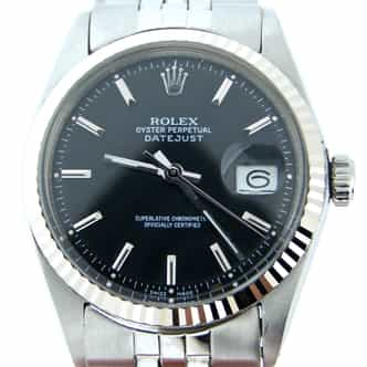 Mens Rolex Stainless Steel Datejust Black  1601 (SKU 1978509BCMT)
