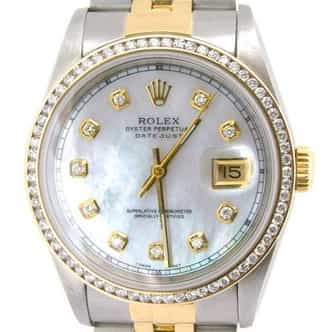 Mens Rolex Two-Tone 18K/SS Datejust White MOP Diamond 16233 (SKU S280496ABCMT)