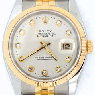 Mens Rolex Two-Tone 18K/SS Datejust Silver Diamond 116233 (SKU F493178SDNBCMT)