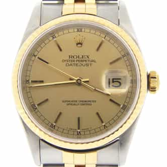 Mens Rolex Two-Tone 18K/SS Datejust Champagne  16233 (SKU U558159MT)