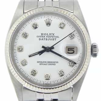 Mens Rolex Stainless Steel Datejust White Diamond 1601 (SKU 882442NMT)