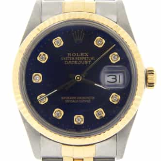 Mens Rolex Two-Tone 18K/SS Datejust Blue Diamond 16013 (SKU R219338BMT)