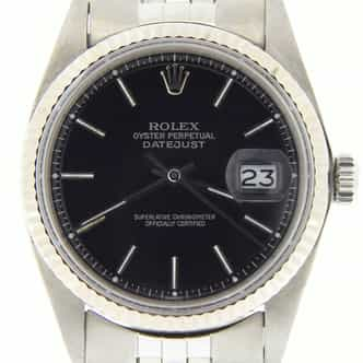 Mens Rolex Stainless Steel Datejust Black  1601 (SKU 3260032BMT)