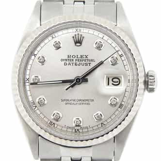 Mens Rolex Stainless Steel Datejust Silver Diamond 1601 (SKU 2887213MT)