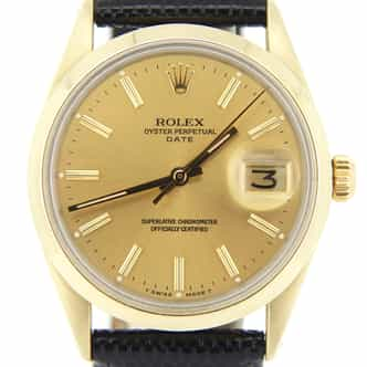 Mens Rolex 14K Gold Shell Date Champagne 1550 (SKU 63803903MT)