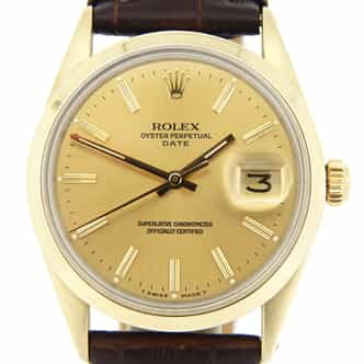 Mens Rolex 14K Gold Shell Date Champagne 1550 (SKU 54914014MT)
