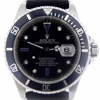 Mens Rolex Stainless Steel Submariner Black Diamond 16610 (SKU A806894RMT)
