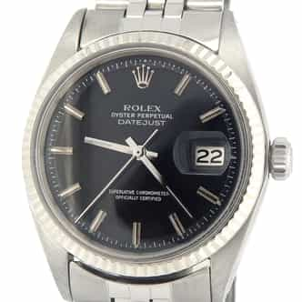 Mens Rolex Stainless Steel Datejust Black  1601 (SKU 1867409BCMT)
