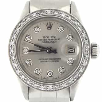 Ladies Rolex Stainless Steel Datejust Silver Diamond (SKU 3009483YSMT)