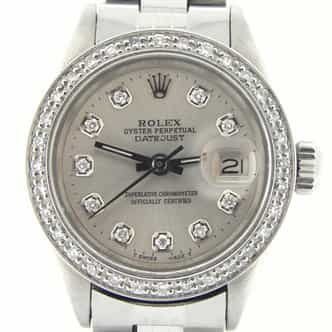 Ladies Rolex Stainless Steel Datejust Silver Diamond (SKU 3009483MT)