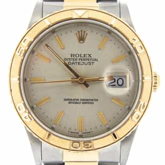 Mens Rolex Two-Tone 18K/SS Datejust Turn-O-Graph Silver  16263 (SKU E563558MT)