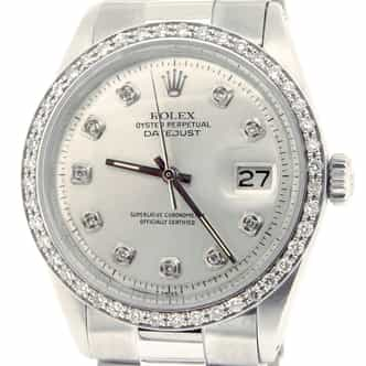 Mens Rolex Stainless Steel Datejust Silver Diamond (SKU 1622516BMT)