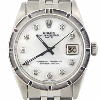 Mens Rolex Stainless Steel Date White MOP Diamond 1501 (SKU 914504JUBMT)