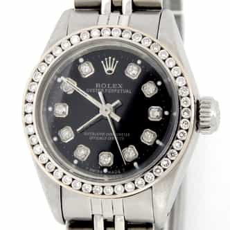 Ladies Rolex Stainless Steel Oyster Perpetual Black Diamond 6718 (SKU 5387576MT)