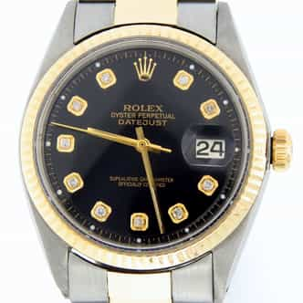 Mens Rolex Two-Tone Datejust Black Diamond 1601 (SKU 2048954MT)