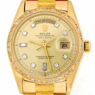 Mens Rolex 18K Gold Day-Date President Champagne Diamond (SKU 4052566MT)