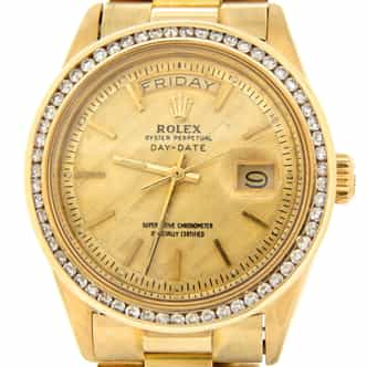 Mens Rolex 18K Gold Day-Date President Champagne Diamond 1803 (SKU 2978215BMT)