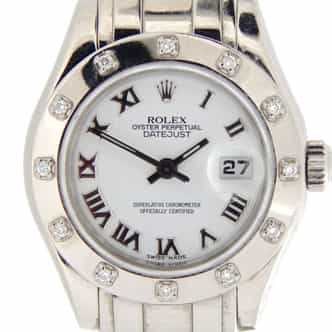 Ladies Rolex 18K White Gold Datejust Pearlmaster White Roman 80319 (SKU D805030NMT)