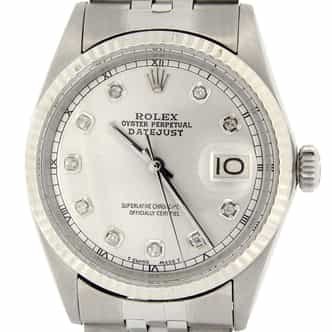 Mens Rolex Stainless Steel Datejust Silver Diamond 1601 (SKU 2570542MT)