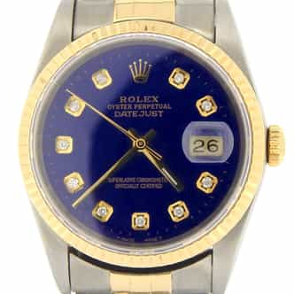 Mens Rolex Two-Tone 18K/SS Datejust Blue Diamond 16233 (SKU L549756NMT)