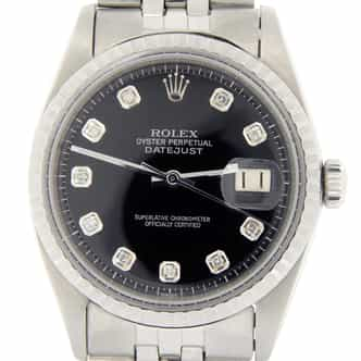 Mens Rolex Stainless Steel Datejust Black Diamond 1603 (SKU 1639357NJMT)