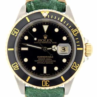 Mens Rolex Two-Tone Submariner Black  16613 (SKU P193559MT)