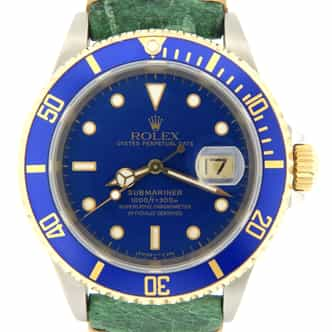 Mens Rolex Two-Tone 18K/SS Submariner Blue  16613 (SKU W900838NMT)