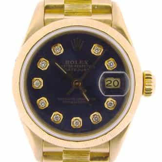 Ladies Rolex 18K Yellow Gold Datejust President Blue Diamond 69278 (SKU 9293154NMT)