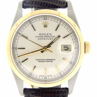 Mens Rolex Two-Tone 18K/SS Datejust Silver 16203 (SKU P237383NMT)