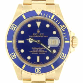 Mens Rolex 18K Yellow Gold Submariner Blue  16618 (SKU A688645MT)