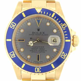 Mens Rolex 18K Yellow Gold Submariner Slate Diamond Blue 16618 (SKU A688645NNMT)