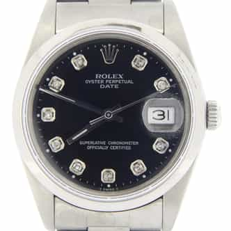Mens Rolex Stainless Steel Date Black Diamond 15200 (SKU L278317NMT)