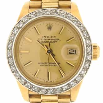 Ladies Rolex 18K Yellow Gold Datejust President Champagne (SKU 7136473MT)