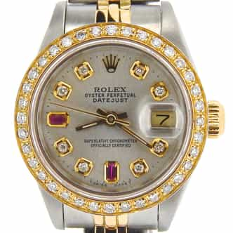 Ladies Rolex Two-Tone 18K/SS Datejust Silver Diamond Ruby 69173 (SKU E931664NMT)