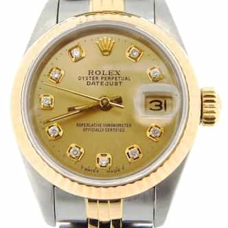 Ladies Rolex Two-Tone 18K/SS Datejust Champagne Diamond 69173 (SKU 8476881NMT)