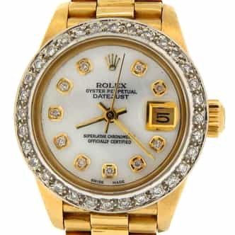 Ladies Rolex 18K Yellow Gold Datejust President White MOP Diamond (SKU 7136473MT)