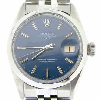 Mens Rolex Stainless Steel Date Blue  1500 (SKU 1950981NMT)