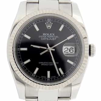 Mens Rolex Stainless Steel Datejust Black  116234 (SKU D947753MT)