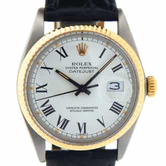 Mens Rolex Two-Tone Datejust White Roman 16013 (SKU 5884158DT)