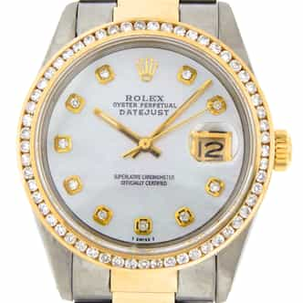 Mens Rolex Two-Tone Datejust White MOP Diamond 16013 (SKU 9031507MT)