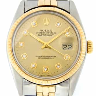 Mens Rolex Two-Tone Datejust Champagne Diamond 16253 (SKU 6176635MT)