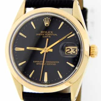 Mens Rolex 14K Gold Shell Date Black  1550 (SKU 3585506MT)