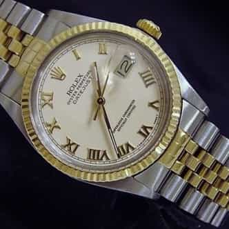 Mens Rolex Two-Tone 18K/SS Datejust Ivory Roman 16013 (SKU 9612458MT)