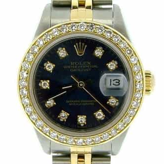 Ladies Rolex Two-Tone 18K/SS Datejust Black Diamond 69173 (SKU 9283674BLKNMT)